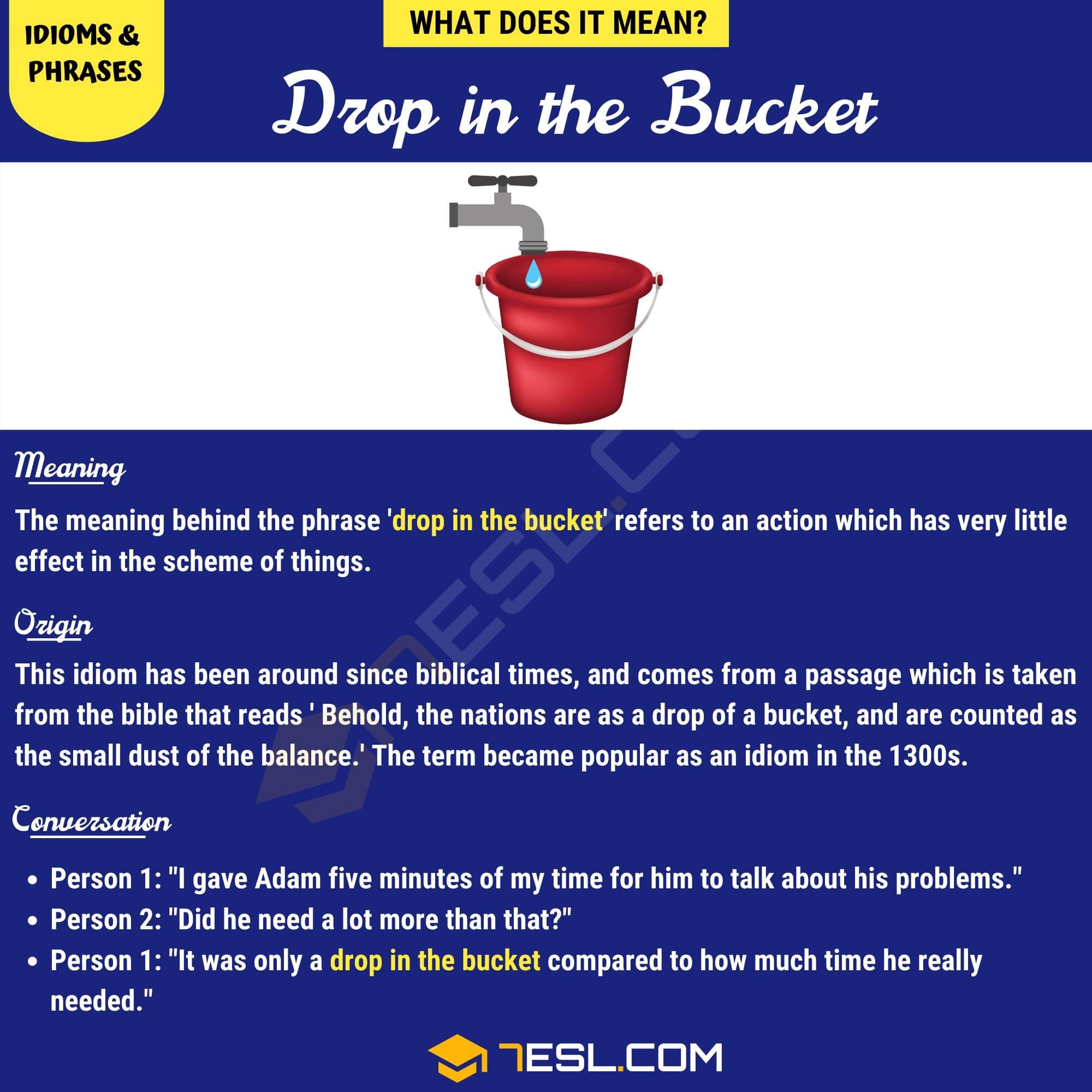 Drop In The Bucket How To Use This Interesting Idiom