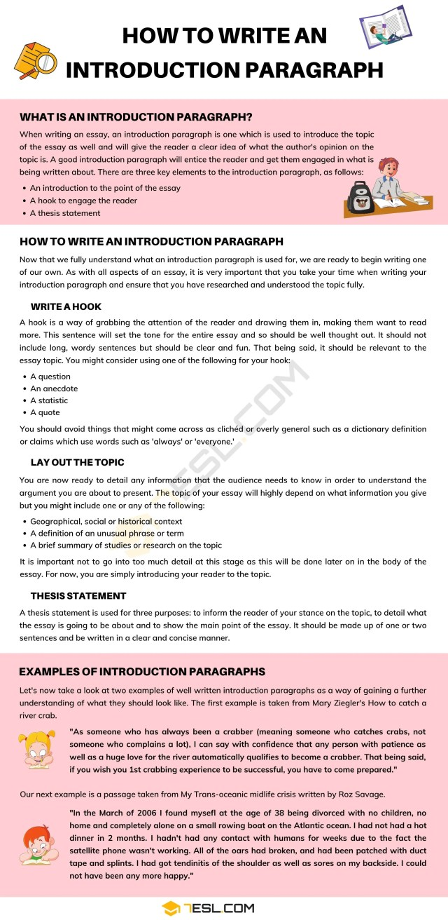 Introduction Paragraph: How To Write An Introduction Paragraph