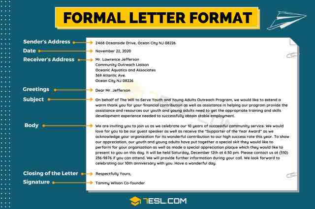 Formal Letter Format: Useful Example and Writing Tips • 26ESL