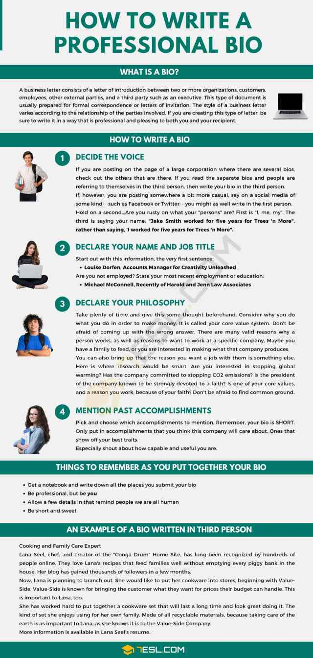 How to Write A Bio: Useful Steps and Tips  Bio Examples • 24ESL
