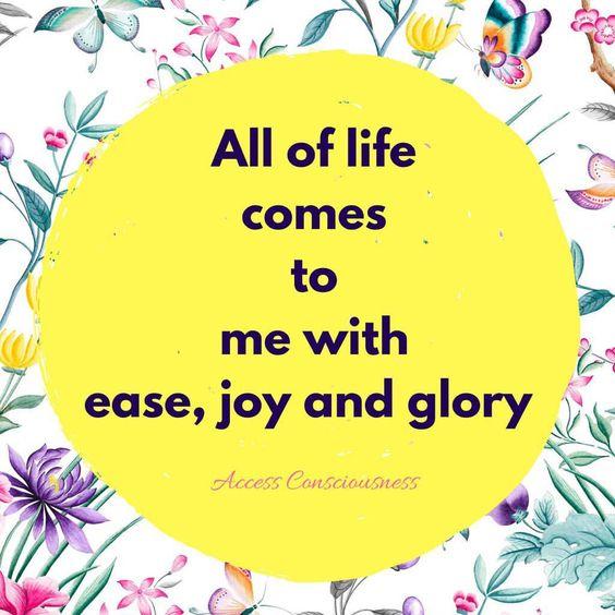 生命中的一切來得輕鬆、喜悅及充滿榮耀