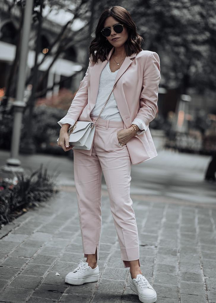 SUIT + T-SHIRT + SNEAKERS