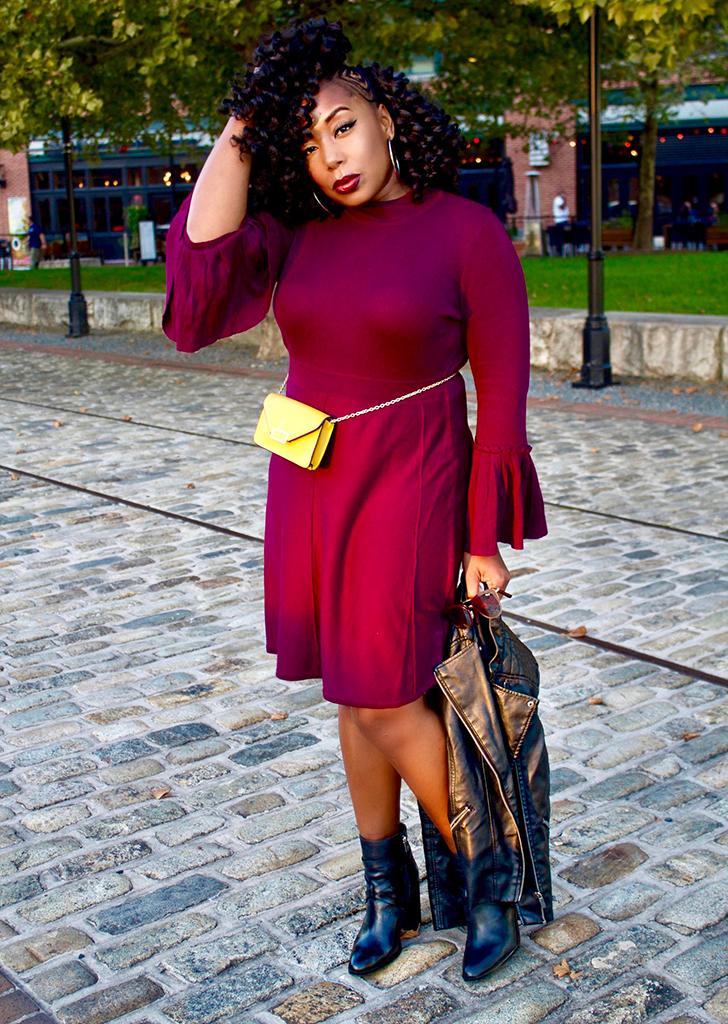 SWEATER DRESS + BELT BAG