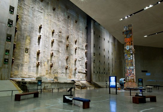 The World Trade Center's original slurry wall, which withstood the 9/11 attacks, anchors one of the subterranean exhibition halls. Photo: Jin Lee