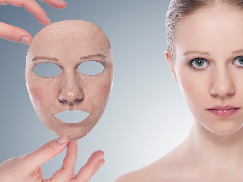 concept skincare with  mask. Skin of beauty young woman before a