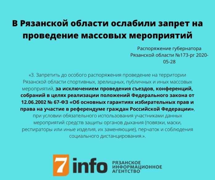 В Рязанской области ослабили запрет на проведение массовых мероприятий