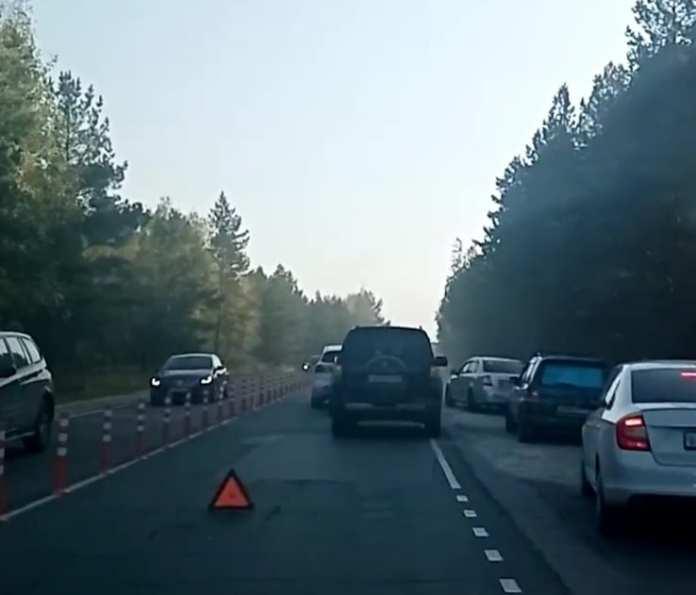 На въезде в Рязань образовалась пробка из-за ДТП