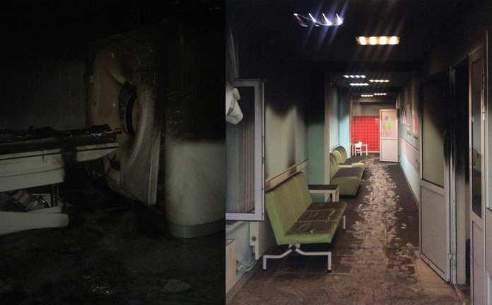 Опубликованы фото и видео пожара в частном медцентре Рязани