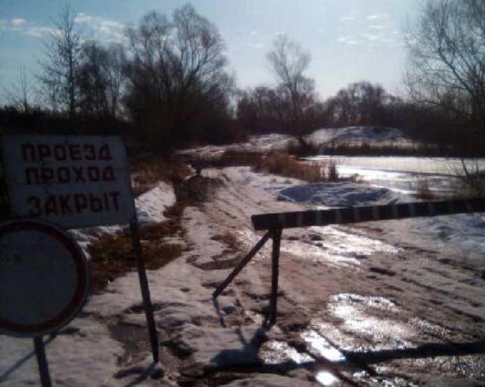 Из-за подъема воды в реке Проня в Кораблинском районе затопило два моста