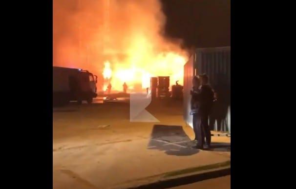 Ночной пожар в Рязани попал на видео