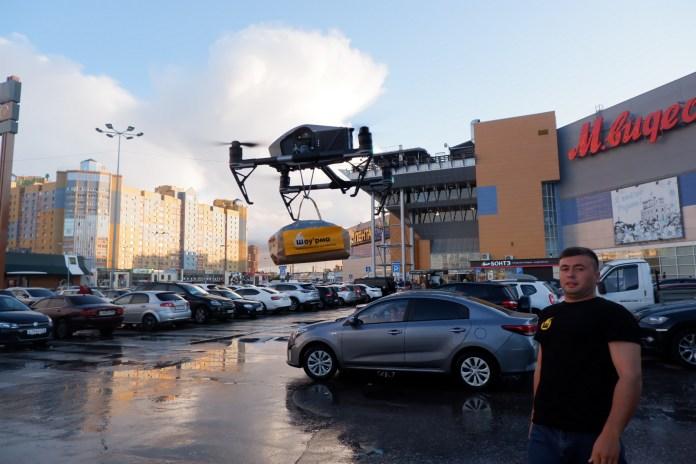 В Рязани шаурму доставляли дроном