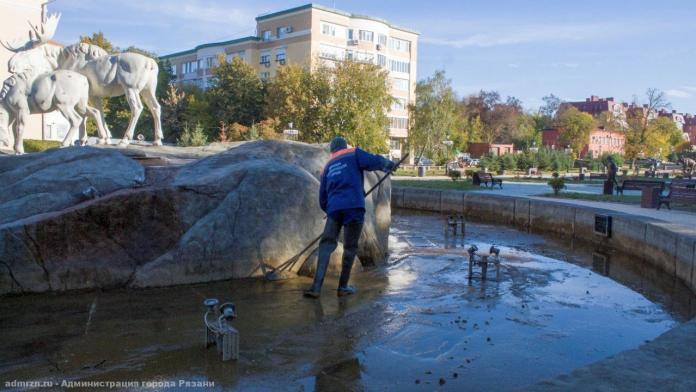 В Рязани фонтаны начали готовить к зиме