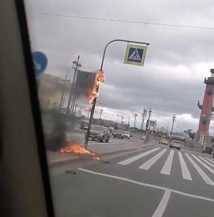 В Петербурге из-за непогоды горят светофоры и падают дорожные знаки