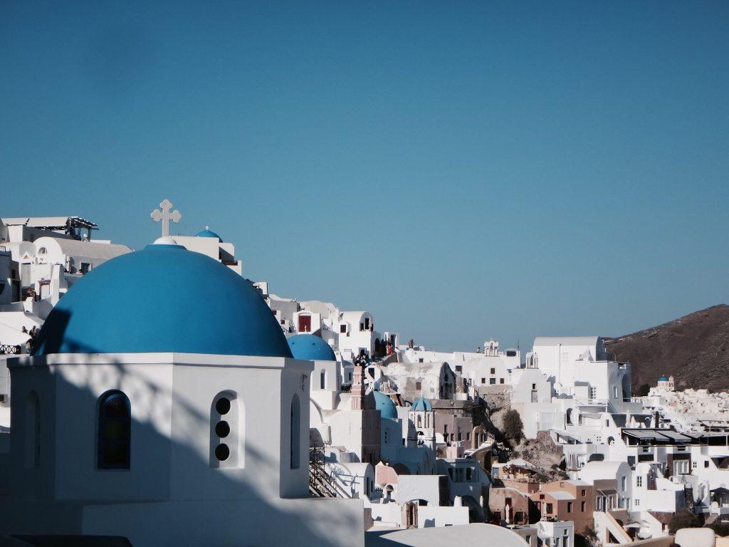santorini fira oia imerovigli dach blau