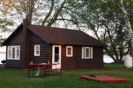 A lakeside cabin.
