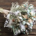 Dried Flower Feather Blue Bouquet Rustic Wildflower Wedding Flowers Arrangement Home Decor Winter Bouquet 7leafshop Wedding Bouquets