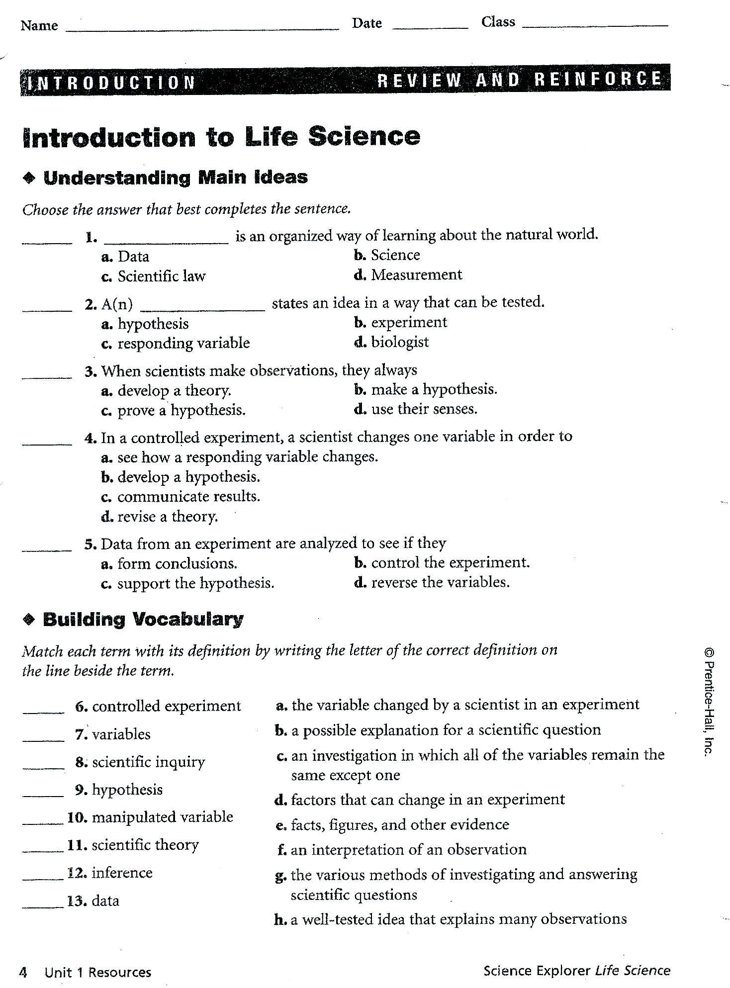 29 Introduction To Life Science Worksheet