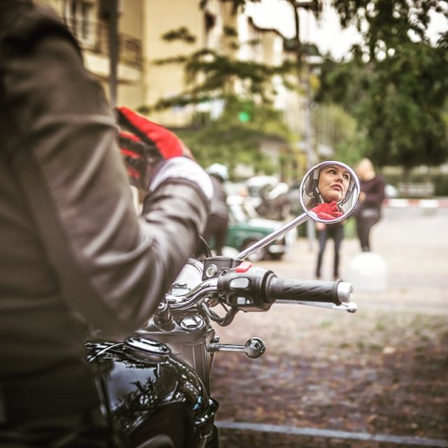 DGR Ljubljana 2017 miss Tina on triumph bonnie reflection mirrorhellip