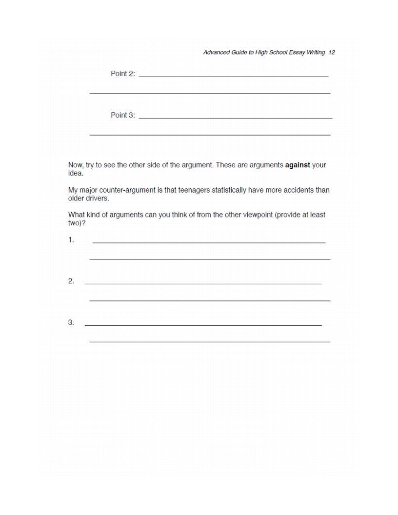high school essay format