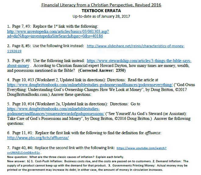 Financial Literacy UPDATED Links Listing for 2018 Edition
