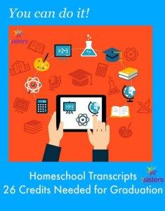 Homeschool High School Transcripts 26 Credits Needed for Graduation 7SistersHomeschool.com