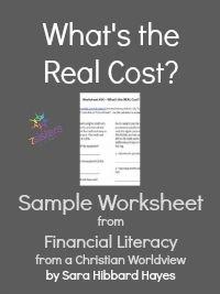 Whats the Real Cost Sample Worksheet 7SistersHomeschool.com