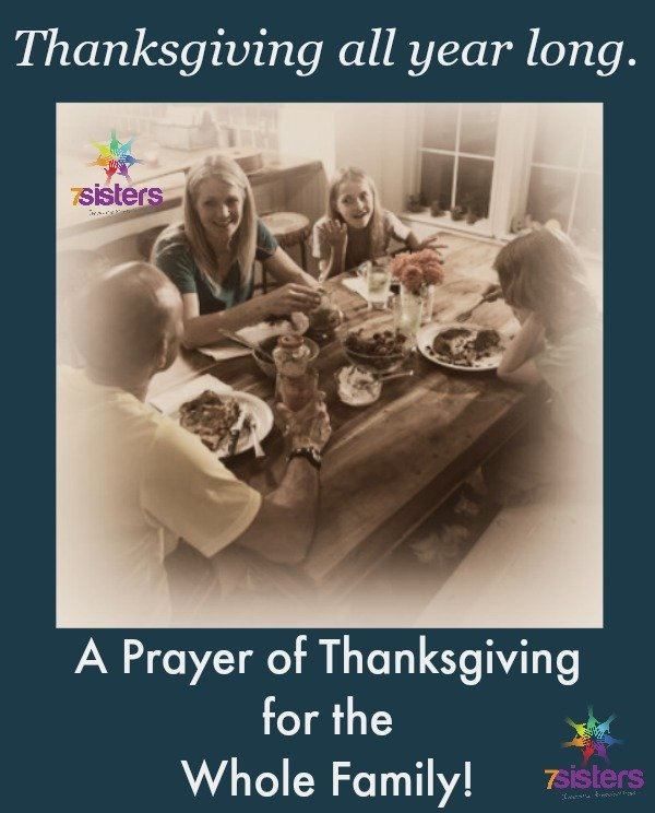 A prayer of thanksgiving for the whole family from 7SistersHomeschool.com