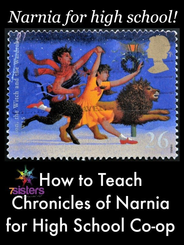 How to Teach The Chronicles of Narnia in High School Co-op 7SistersHomeschool.com #HomeschoolCo-op #ChroniclesOfNarniaForHighSchool This photo shows a postage stamp with Tumnus, Lucy and Aslan running happily together.