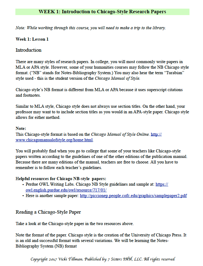 Excerpt from Chicago Style Research Paper Writing Guide from 7SistersHomeschool.com