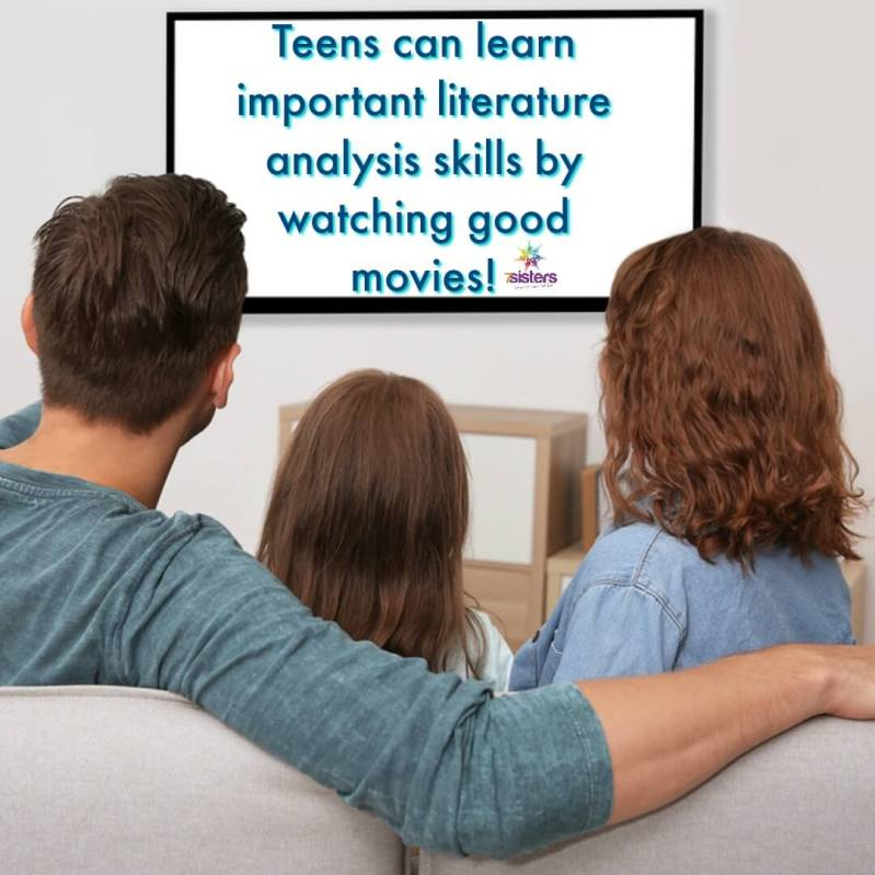 Teens can learn important literature analysis skills by watching good movies! Cinema Studies for Literature Learning is a great set of guides that help teens enjoy movies and language arts at the same time! #HomeschoolHighSchool #HomeschoolLanguageArts #CinemaStudiesForLiteratureLearning #7SistersHomeschool
