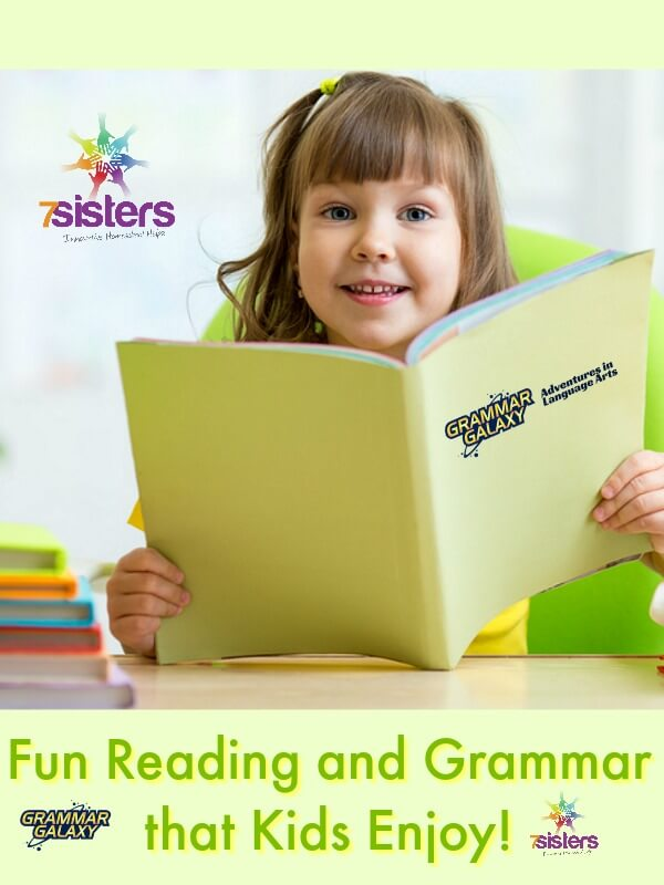 Fun Reading and Grammar Curricula that Kids Enjoy. 7SistersHomeschool's Literature Activity Guides and Grammar Galaxy's delightful grammar workbooks make elementary reading and grammar great learning experiences. #HomeschoolElementary #ElementaryReadingAndGrammar #ReadingAndGrammar #GrammarGalaxy #FunGrammar