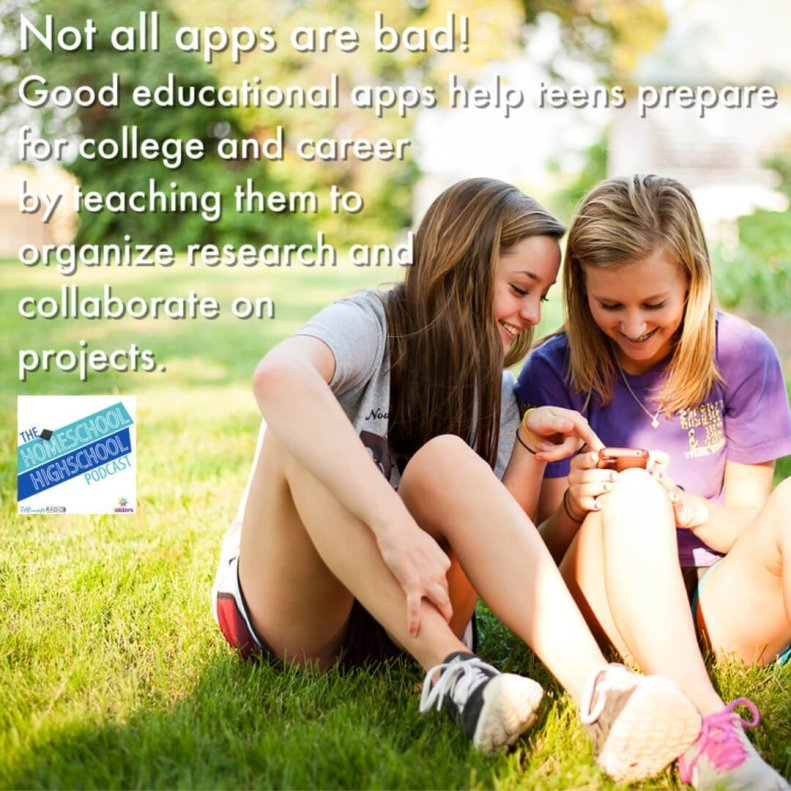 Not all apps are bad! Good educational apps help homeschool high schoolers prepare for life and college.