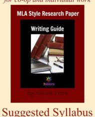Suggested Syllabus for MLA Research Paper