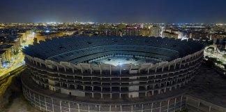 Vista aérea de las obras inacabadas del Nou Mestalla