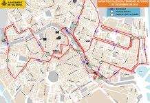 Plano de los cortes de trádico de la Maratón de Valencia 2019.