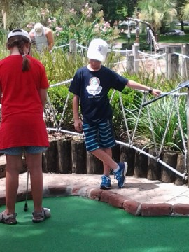 Relaxing at Pirates Cove mini-golf