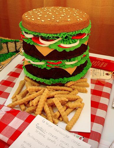 Six-layer cheeseburger cake