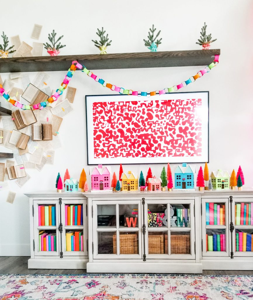 Create a colorful Christmas village