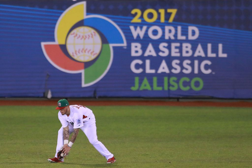 ZAPOPAN, MEXICO - MARCH 11: Alex Verdugo #27 of Mexico makes a play in the top of the fifth inning during the World Baseball Classic Pool D Game 4 between Puerto Rico and Mexico at Panamericano Stadium on March 11, 2017 in Zapopan, Mexico. (Photo by Miguel Tovar/Getty Images)