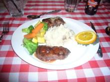 Buffalo and elk steaks with garlic mash