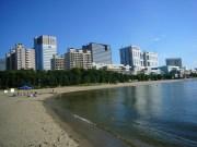 Man-made beach and skyline