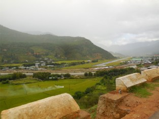 Paro airport from hotel road