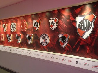 A display of River's many badges