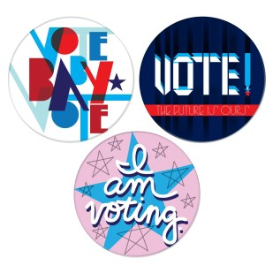 Vote! Buttons for Creative Action Network