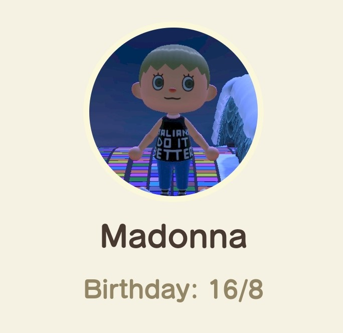 Animal Crossing New Horizons- Madonna