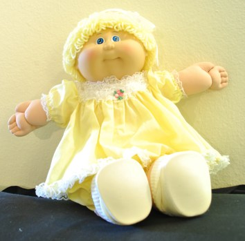 80s Cabbage Patch Kid-Blonde-Yellow Dress