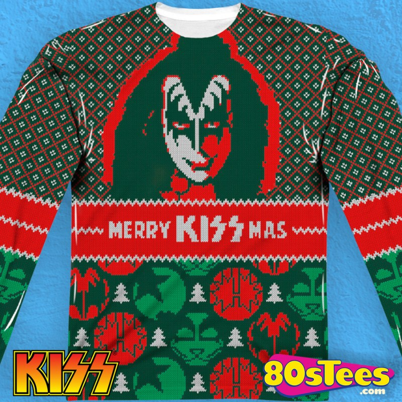 Kiss Sublimated Faux Christmas Sweater Kiss Mens Long