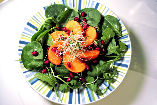 Arugula Pomegranate Salad with Sprouts - vegan - Christy Brissette, dietitian, 80 Twenty Nutrition