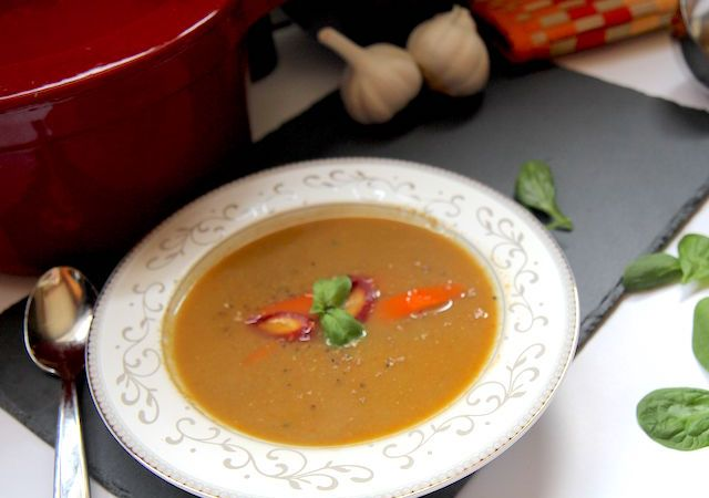 Heirloom Carrot Soup with Peanut Butter and Basil