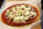 Best Ever Keto Pizza - Gluten-Free, Low Carb and Protein-Packed! with Green Peppers, Mushrooms and Pepperoni - recipe by Christy Brissette, media registered dietitian nutritionist in Toronto, 80 Twenty Nutrition